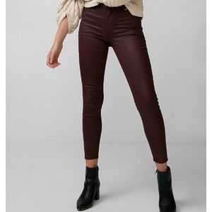 High wasted coated stretch ankle jean leggings